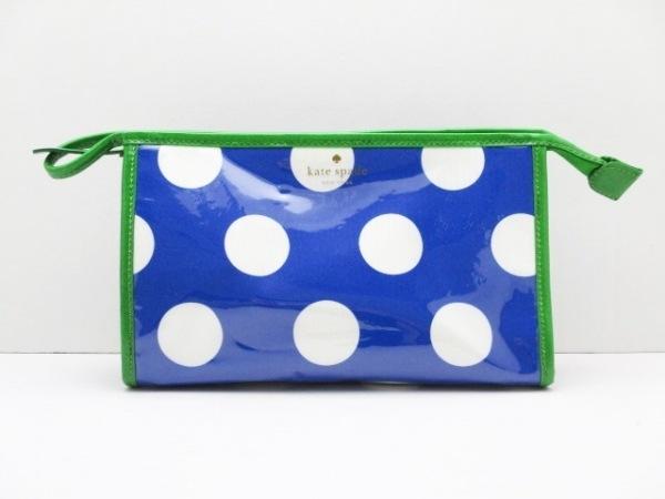 ケイトスペード ポーチ美品  ブルー×白×グリーン ドット柄 ビニール×レザー