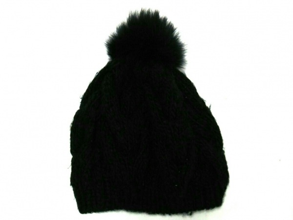 yves salomon(イヴサロモン) ニット帽 黒 ウール
