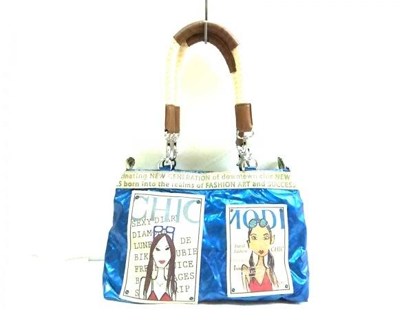 バーバラリール ショルダーバッグ ブルー×ベージュ×マルチ PVC(塩化ビニール)×合皮