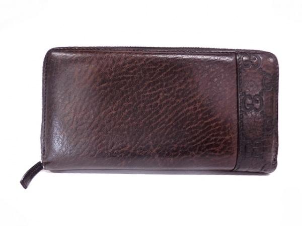 GUCCI(グッチ) 長財布 シマライン 256439 ダークブラウン ラウンドファスナー レザー