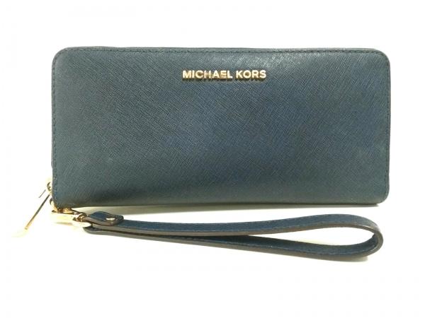 MICHAEL KORS(マイケルコース) 財布美品  ダークネイビー ラウンドファスナー レザー
