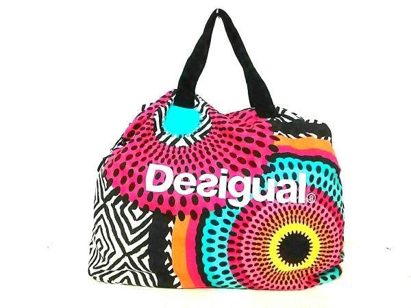 Desigual(デシグアル) ボストンバッグ美品  黒×ピンク×マルチ キャンバス