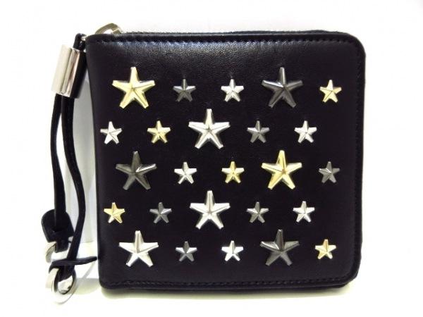 ジミーチュウ 2つ折り財布美品  TESSA 黒 ラウンドファスナー/スタッズ レザー