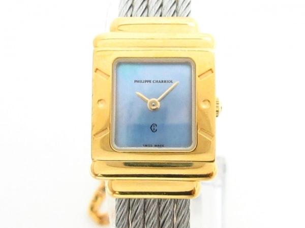 フィリップシャリオール 腕時計 サントロペ 7007902 レディース シェル文字盤 ブルー