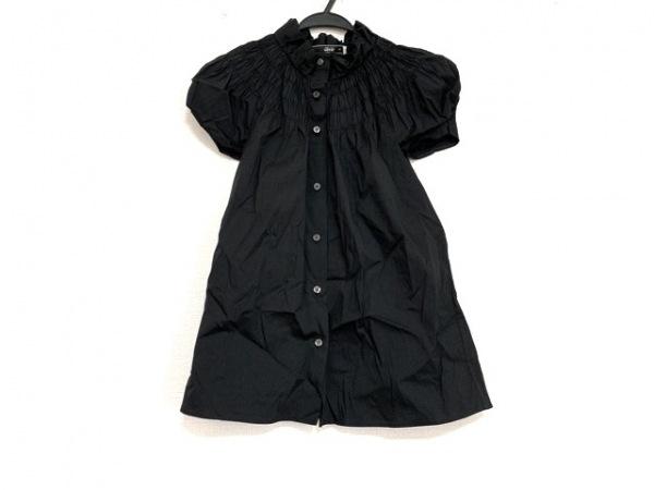 PRADA(プラダ) 半袖シャツブラウス サイズ40 M レディース美品  黒 ギャザー/フリル