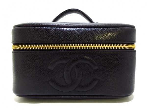 CHANEL(シャネル) バニティバッグ美品  - A01997 黒 ゴールド金具 キャビアスキン