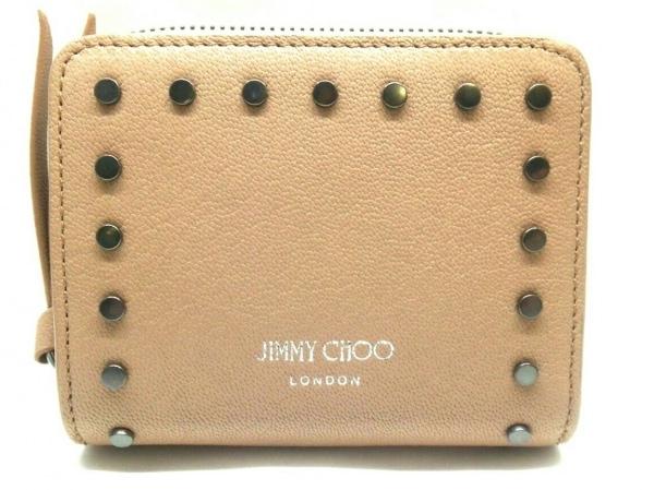 ジミーチュウ 2つ折り財布美品  レジーナ ピンク ラウンドファスナー/スタッズ レザー
