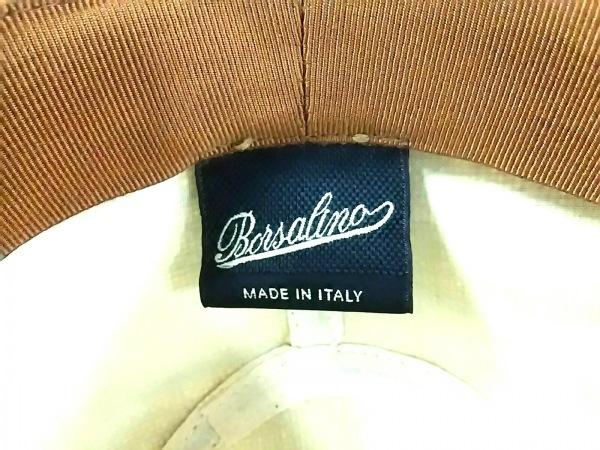 Borsalino(ボルサリーノ) ニット帽 58 ベージュ×カーキ 指定外繊維(ジュート)