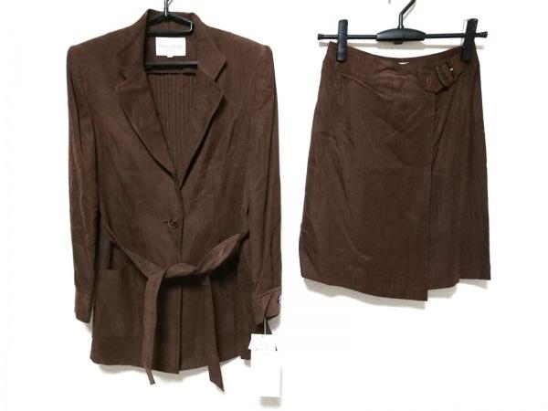 ジュンアシダ スカートスーツ サイズ7 S レディース ダークブラウン×ベージュ