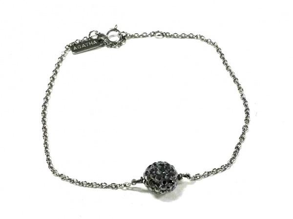 AGATHA(アガタ) ネックレス美品  シルバー×カラーストーン ダークグレー