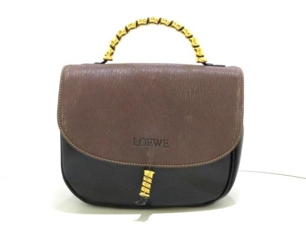 LOEWE(ロエベ) ハンドバッグ - ダークブラウン×黒 ツイスト金具 レザー×ヌバック