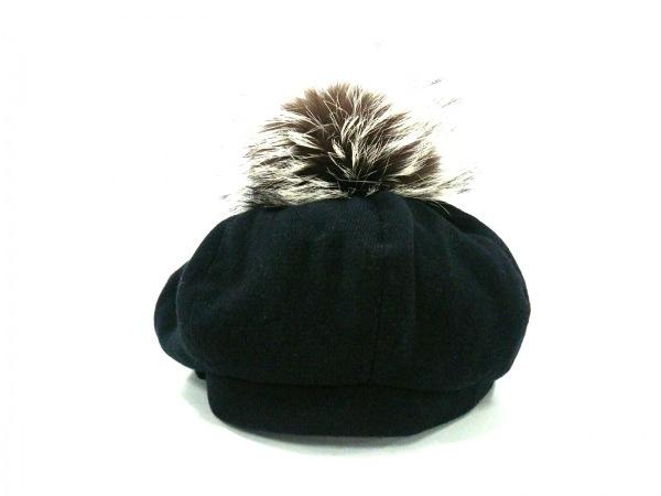 ミュールバウアー 帽子 黒×ダークブラウン×アイボリー ベレー帽 ウール×ファー