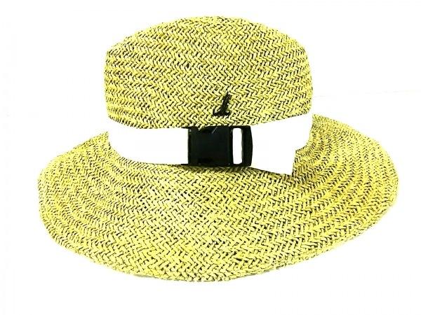ミュールバウアー 帽子美品  ライトグリーン×アイボリー ストロー×コットン