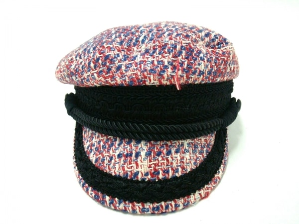 ダブルスタンダードクロージング 帽子 57.5 レッド×ブルー×アイボリー