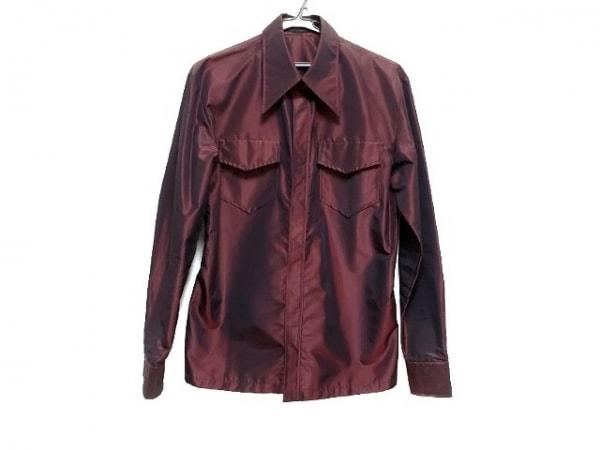 5351 PourLesHomme(5351プールオム) 長袖シャツ メンズ ボルドー×黒 ストライプ