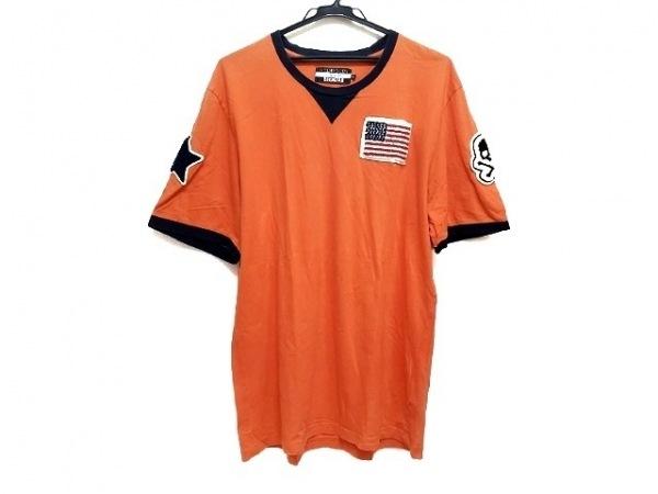 HYDROGEN(ハイドロゲン) 半袖Tシャツ サイズ3XL メンズ オレンジ×ネイビー×マルチ