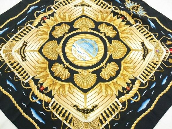 HERMES(エルメス) スカーフ美品  カレ 黒×イエロー×マルチ