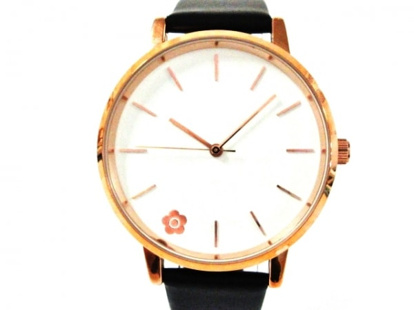 MARY QUANT(マリクワ) 腕時計美品  - レディース 白×ブロンズ