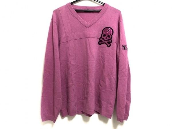 ダンスウィズドラゴン 長袖セーター サイズ4 XL メンズ ピンク スカル/スパンコール