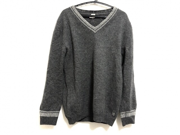 HERMES(エルメス) 長袖セーター サイズ34 S レディース グレー×ライトグレー