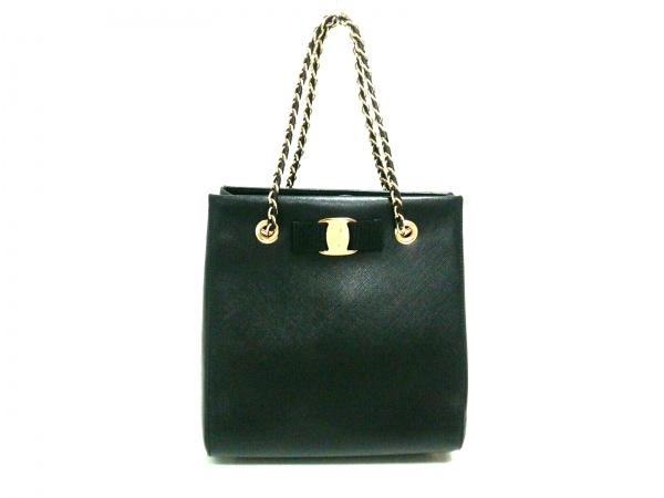 サルバトーレフェラガモ ハンドバッグ美品  ヴァラ 21E998 黒 チェーンハンドル