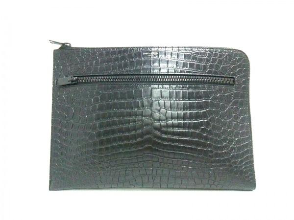 サンローランパリ クラッチバッグ美品  440945 黒 型押し加工 レザー