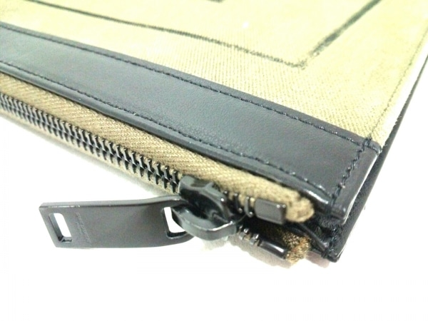 サンローランパリ クラッチバッグ美品  397295 カーキ×黒 コットン×レザー