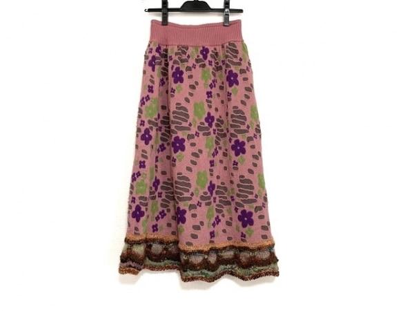 エムアンドキョウコ ロングスカート サイズ2 M レディース美品  ニット/フラワー