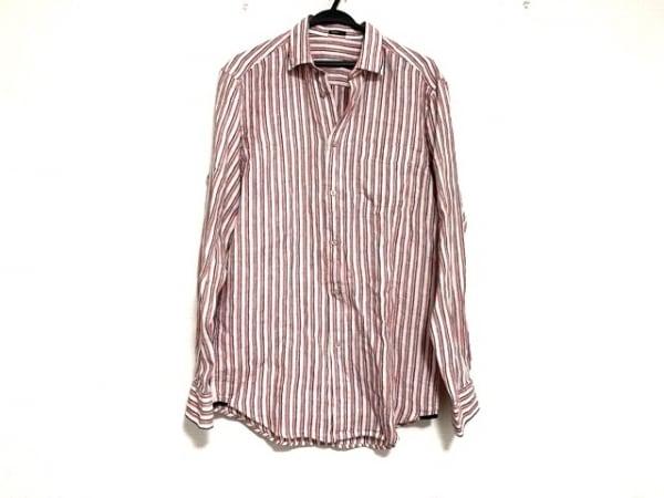 ゼニア 長袖シャツ サイズS メンズ美品  白×レッド×ダークネイビー 麻/ストライプ