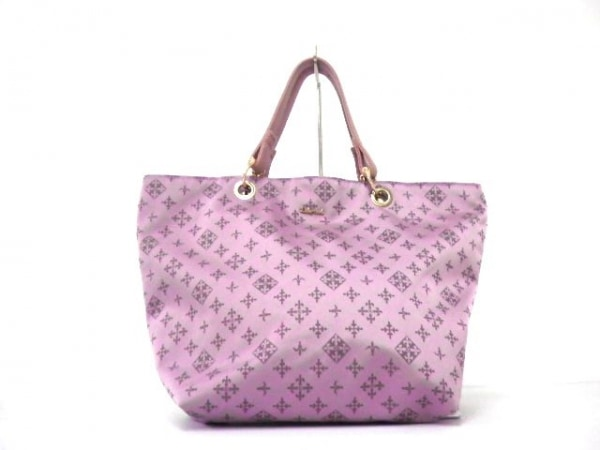 デイリーラシット ハンドバッグ美品  ピンク ナイロンジャガード×レザー