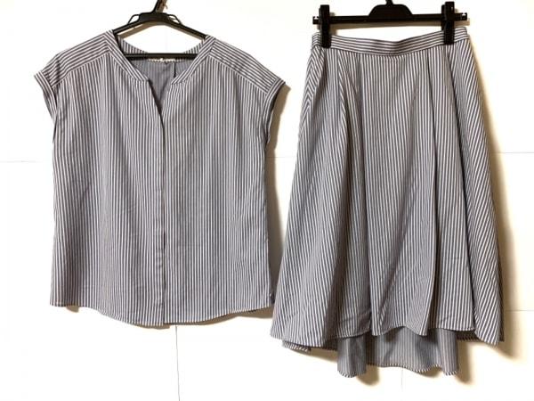 クミキョク スカートセットアップ サイズ5 XS レディース美品  ライトネイビー×白
