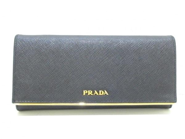PRADA(プラダ) 長財布 - 黒×ゴールド 型押し加工 レザー×金属素材
