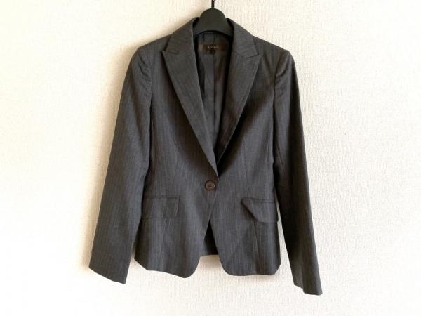 リフレクト ジャケット サイズ9 M レディース美品  グレー×ライトグレー ストライプ