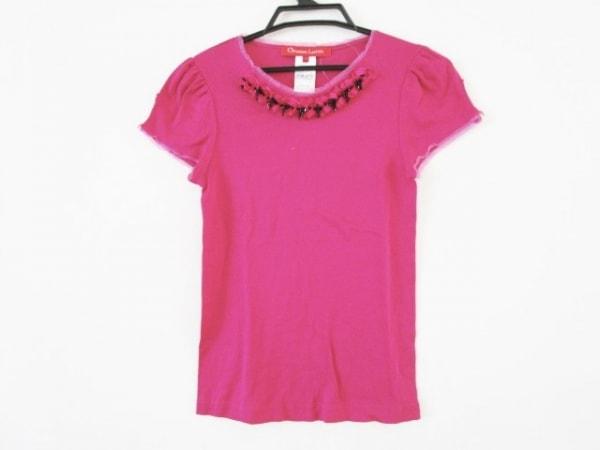 クリスチャンラクロワ 半袖カットソー サイズS レディース ピンク×黒 ビーズ/リボン