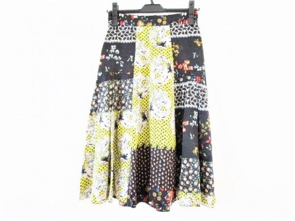 クリスチャンラクロワ スカート サイズ36 S レディース美品  黒×イエロー×マルチ