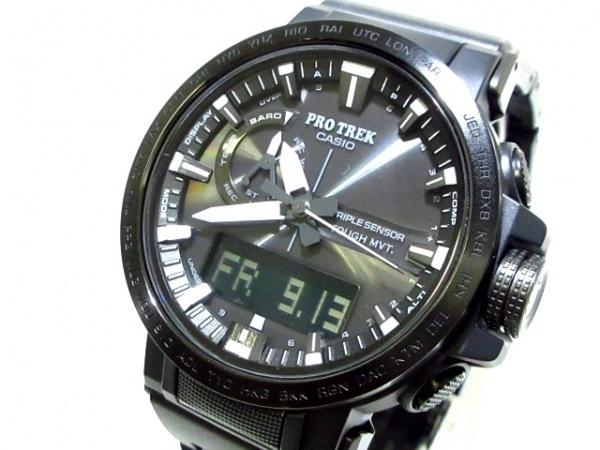CASIO(カシオ) 腕時計美品  PRO TREK PRW-60FC-1AJF メンズ プラスティックベルト 黒