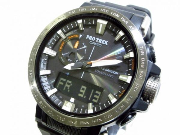 CASIO(カシオ) 腕時計美品  PRO TREK PRW-60Y-1AJF メンズ ラバーベルト 黒