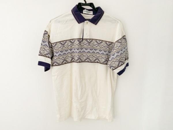 マンシングウェア 半袖ポロシャツ サイズM レディース アイボリー×パープル×マルチ