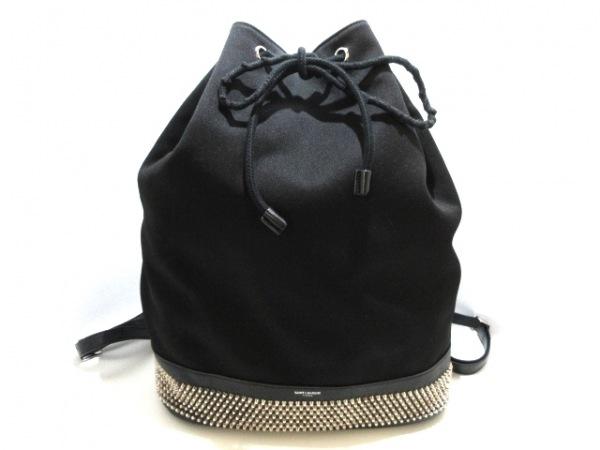 サンローランパリ リュックサック 360193 黒×シルバー 巾着型/スタッズ