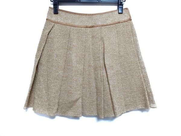 ドレステリア スカート サイズ38 M レディース ライトブラウン×ゴールド プリーツ
