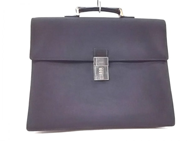 グッチ ビジネスバッグ美品  - 34045 黒 ロックナンバー【000】 ナイロン×レザー