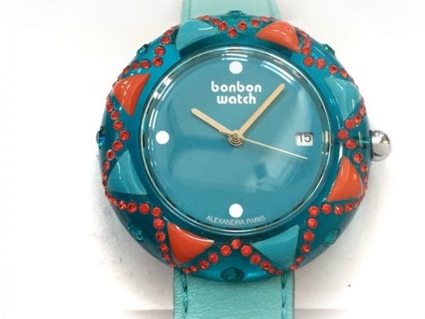 ボンボンウォッチ 腕時計 - レディース ラインストーン/革ベルト ライトブルー