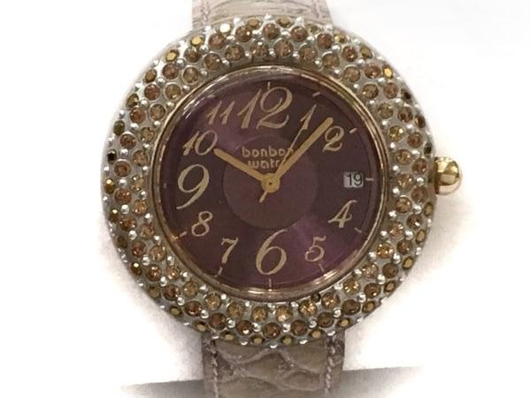ボンボンウォッチ 腕時計美品  - レディース ラインストーン/ラメ/革ベルト パープル