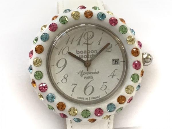 BONBONWATCH(ボンボンウォッチ) 腕時計 - レディース ラインストーン/革ベルト 白