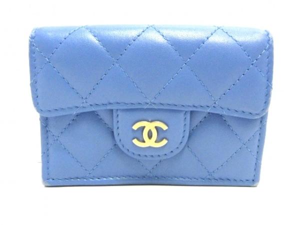 CHANEL(シャネル) 3つ折り財布 マトラッセ A84401 ブルー ゴールド金具 ラムスキン