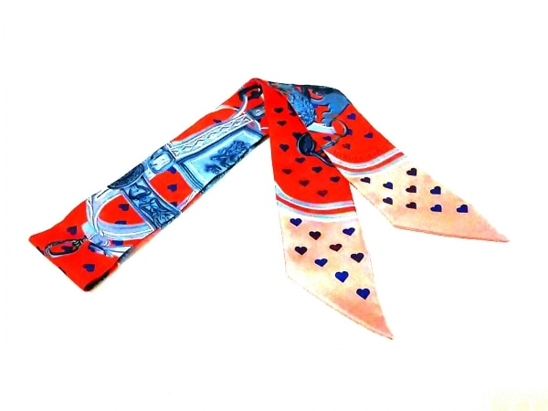 HERMES(エルメス) スカーフ美品  ツィリー 063132S-06 レッド×ピンク×マルチ ハート