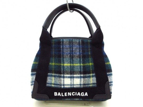 バレンシアガ トートバッグ美品  ネイビーカバXS 390346 グリーン×黒×マルチ