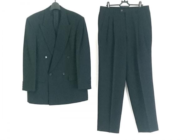 ランバン ダブルスーツ サイズR48-45 メンズ 黒×グレー ストライプ/ネーム刺繍