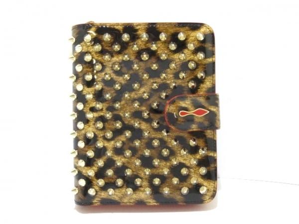 クリスチャンルブタン 2つ折り財布美品  ライトブラウン×黒×マルチ