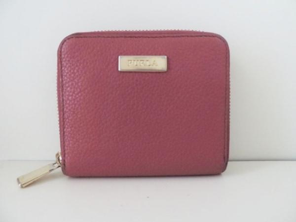 FURLA(フルラ) 2つ折り財布 ピンク ラウンドファスナー レザー